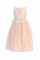 Sweet Kids SK732 Pink Wide Lace Satin & Tulle w/ Pearl Dress