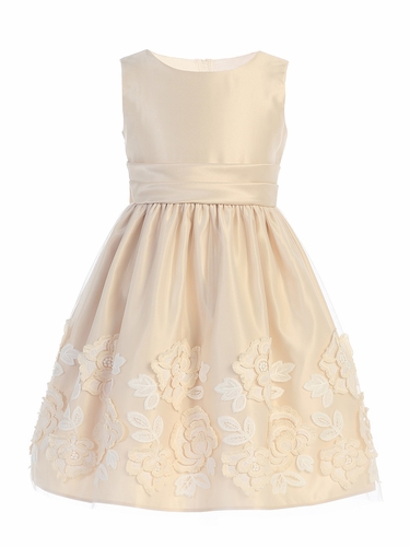 Sweet Kids SK737 Champagne Satin w/ Lush Rose Patch On Mesh Dress