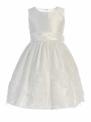 Sweet Kids SK737 Off-White Satin w/ Lush Rose Patch On Mesh Dress