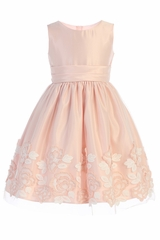 Sweet Kids SK737 Pink Satin w/ Lush Rose Patch On Mesh Dress