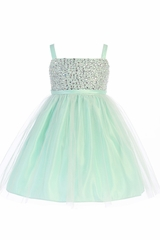 Sweet Kids SK738 Mint Rhinestone & Crystal Tulle Dress