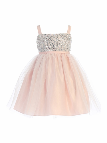 Sweet Kids SK738 Pink Rhinestone & Crystal Tulle Dress