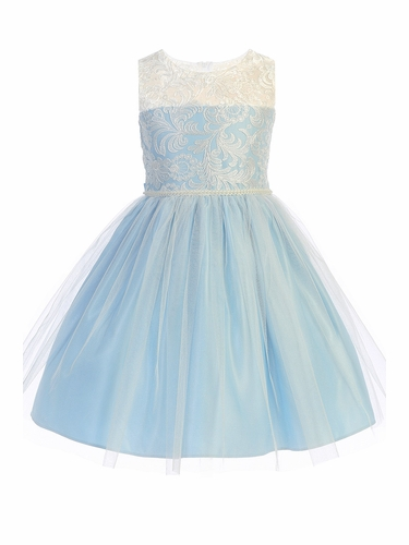 Sweet Kids SK740 Blue Luxe Embroidered Mesh w/ Pearl Trim