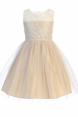 Sweet Kids SK740 Champagne Luxe Embroidered Mesh w/ Pearl Trim