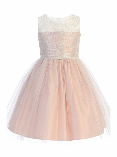 Sweet Kids SK740 Pink Luxe Embroidered Mesh w/ Pearl Trim