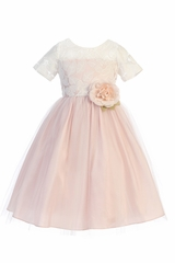 Sweet Kids SK742 Blush Soft Spring Jasmine Lace Tulle Dress