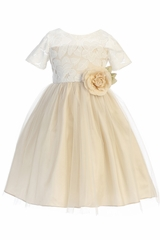 Sweet Kids SK742 Champagne Soft Spring Jasmine Lace Tulle Dress