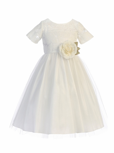 Sweet Kids SK742 White Soft Spring Jasmine Lace Tulle Dress