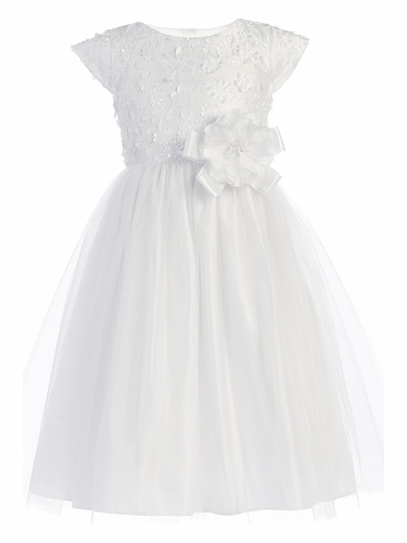 Sweet Kids SK745 White Tulle Skirt w/ Flower Patch Mesh Bodice