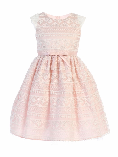 Sweet Kids SK747 Blush Modern Stripe Embroidered Mesh Dress