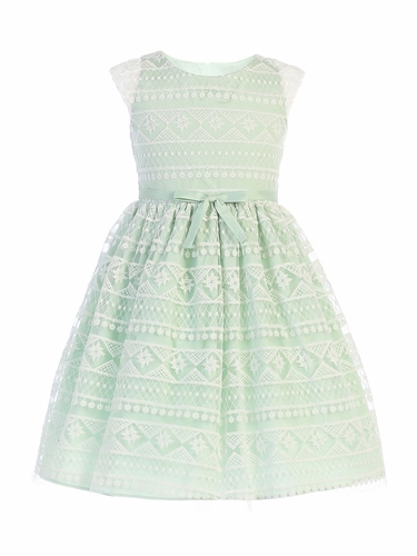 Sweet Kids SK747 Sage Modern Stripe Embroidered Mesh Dress