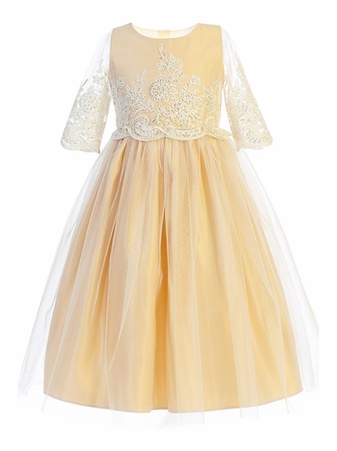 Sweet Kids SK748 Champagne Sequin & Cord Embroidered Mesh 3/4 Sleeve Dress