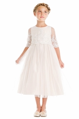 Sweet Kids SK748 White Sequin & Cord Embroidered Mesh ¾ Sleeve Dress