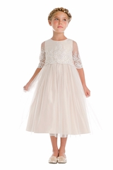 Sweet Kids SK748 White Sequin & Cord Embroidered Mesh 3/4 Sleeve Dress