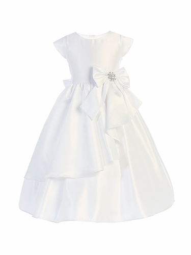 Sweet Kids SK750 White Cascading Satin Dress w/ Bow