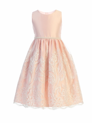 Sweet Kids SK751 Pink Cord Embroidered Scalloped Lace Dress