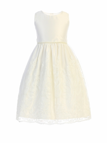 Sweet Kids SK751 White Cord Embroidered Scalloped Lace Dress