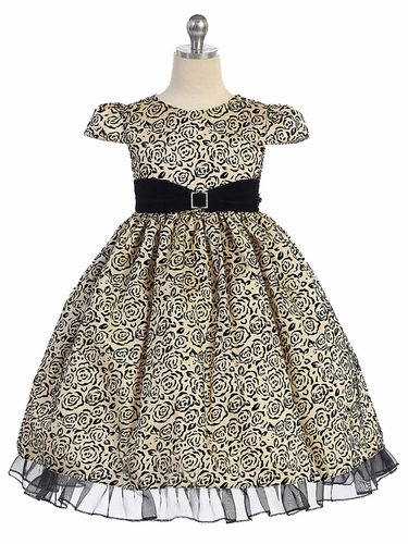 Taupe & Black Roses w/ Velvet Sash Holiday Dress