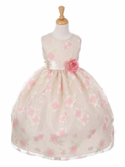 CLEARANCE - Taupe Floral Organza Dress w/ Sash
