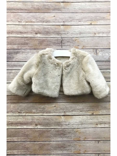 Petite Adele JF101 Taupe Long Sleeve Fur Jacket