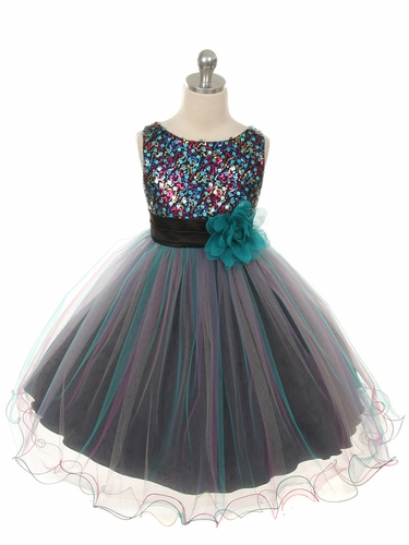 Teal Blue Double Mesh Dress w/ Multi Sequins Bodice & Flower Sash