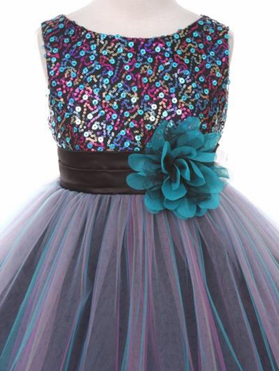 Teal Blue Double Mesh Dress W Multi Sequins Bodice