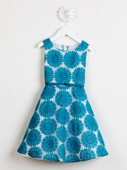 CLEARANCE - Teal Daisy Embroidered Organza