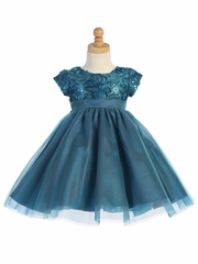 Teal Floral Tulle Bodice w/ Tulle Skirt
