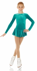 Mondor Jade Green Glitter Velvet Long Sleeve Dress