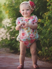 Persnickety A Pocket Full Of Posies Teal Lyla Romper