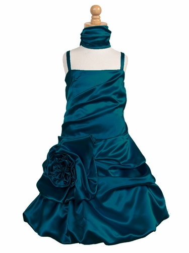 Teal Satin Bubble Dress w/ Gathered Flower & Shawl