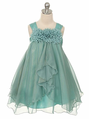 Teal Shiny Chiffon Dress