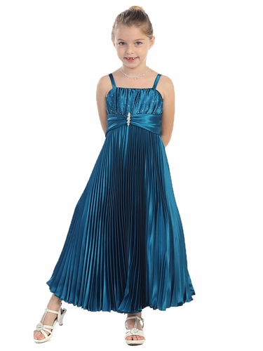 Teal Shiny Satin Pleated Long Dress