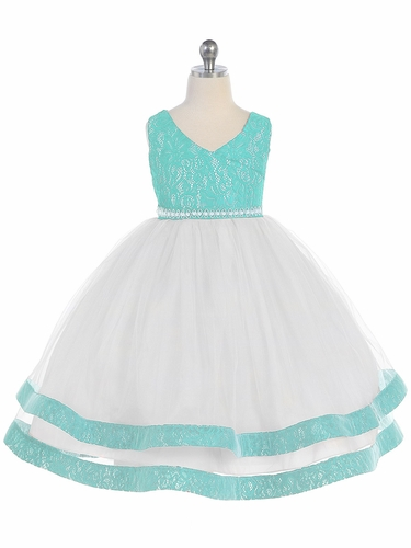 Teal V-Neck Lace Detailed Tulle Dress w/ Pearl Waistband