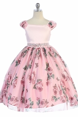 TGI Kids 114 Pink Mesh Satin Floral Dress