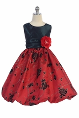 TGI Kids 4205 Red Embroidered Taffeta Bubble Dress