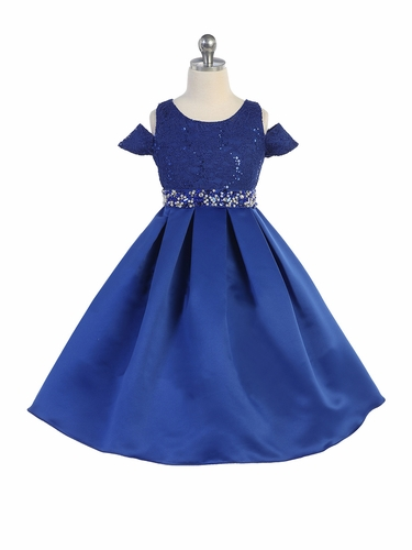 TGI Kids 4387 Blue Off The Shoulder Satin & Lace Dress