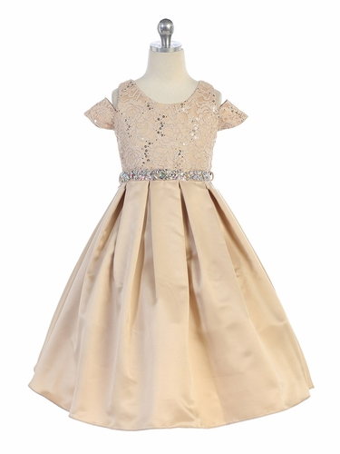TGI Kids 4387 Champagne Sequins Lace Dress w/ Jeweled Belt
