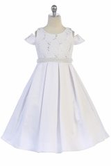 TGI Kids 4387 White Sequins Lace Dress w/ Pearl Belt