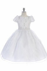 TGI Kids 4391 White Short Sleeve Dress w/ Lace