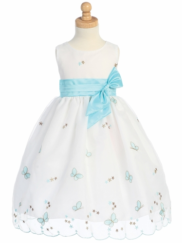 Tiffany Blue Embroidered Butterfly Organza Dress w/Taffeta Waistband