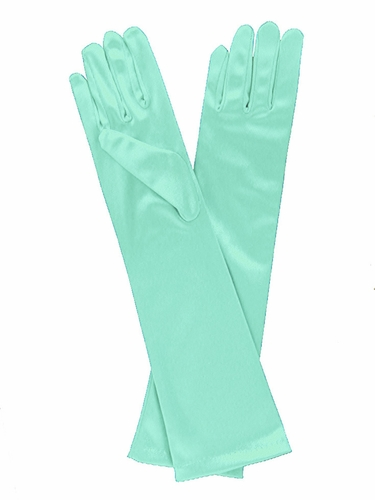 Tiffany Blue Long Satin Gloves