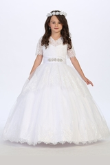 Tip Top Kids 1171 White V-Lace & Tulle Dress w/ Sleeves & Rhinestone Sash