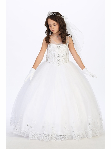 Tip Top Kids 1173 White Beaded Bodice w/ Lace Hem Tulle Dress