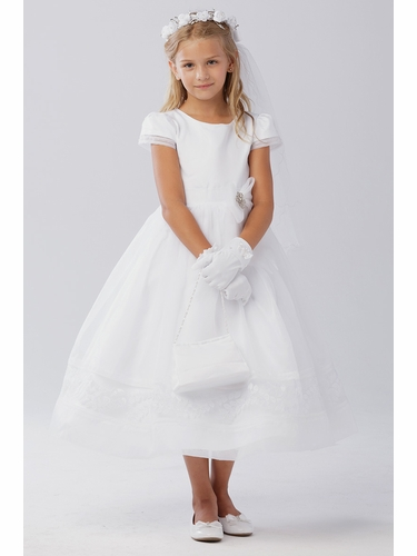 Tip Top Kids 5605 White Short Sleeve Angle Length Communion Dress w/ Bow