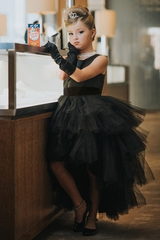 Tip Top Kids 5658 Black Ruffled Tulle High Low Dress