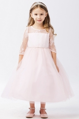 Tip Top Kids 5664 Blush Illusion Neckline w/ Lace Embellishment 3/4 Sleeve Dress