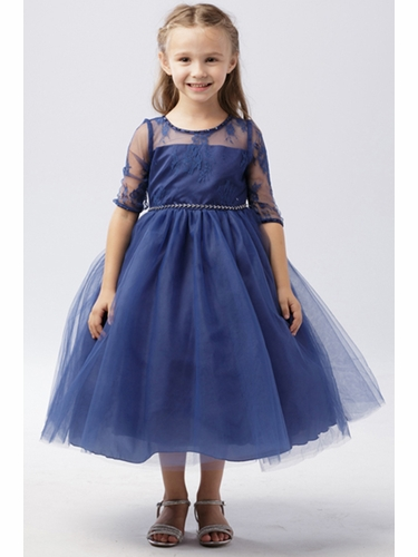 Tip Top Kids 5664 Navy Illusion Neckline w/ Lace Embellishment 3/4 Sleeve Dress