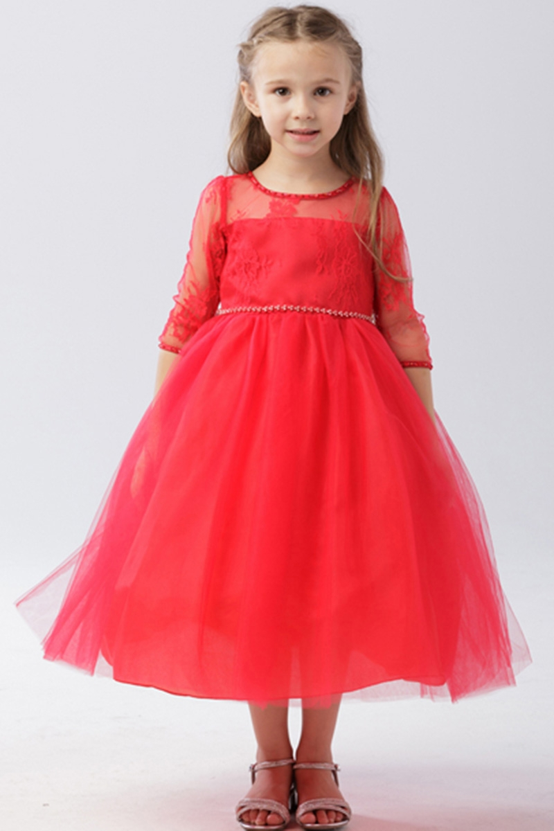 81a8fe89420e0 Click to Enlarge. Tip Top Kids 5664 Red Illusion Neckline w  Lace  Embellishment 3 4 Sleeve Dress
