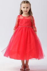 Tip Top Kids 5664 Red Illusion Neckline w/ Lace Embellishment 3/4 Sleeve Dress